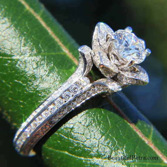 Gorgeous UNIQUE Flower Rose Diamond Engagement Ring - 2.00 carat - 14K white gold - wedding - brides - custom made - art deco - fL01
