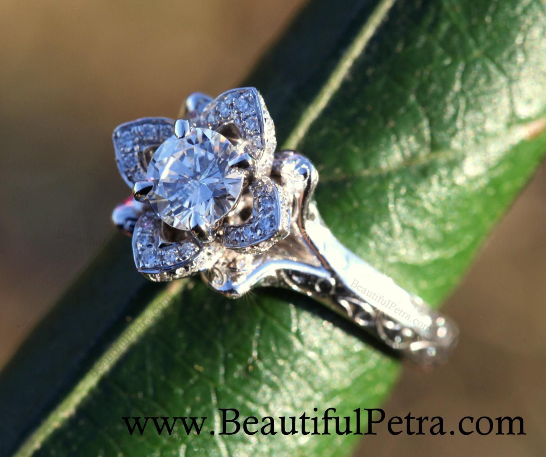 wedding set unique flower rose diamond engagement ring and. Black Bedroom Furniture Sets. Home Design Ideas
