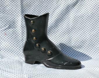Victorian Style Button Up Shoe Vase or Planter, Black Cast Metal