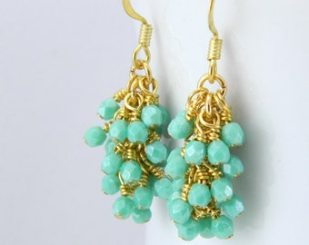 Turquoise Green Cluster Earrings in Gold