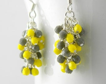 Yellow and Gray Cascade Earrings, Yellow and Grey