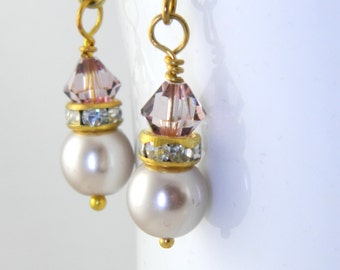 Vintage Pink and Beige Glass Pearl Drop Earrings in Gold