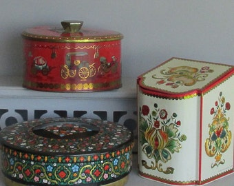 containers - Vibrant red/gold/black tins - vintage - Made in England - a collection of 3 tins