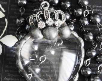 ANNE BOLEYN Rhinestone Crowned Glass Heart Necklace. Handmade Soldered Pendant. Hematite. Dramatic Elegance. Renaissance Assemblage No3