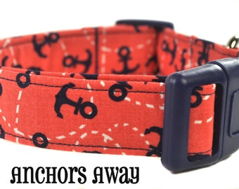 Anchors Away - Orange and Navy Dog Collar