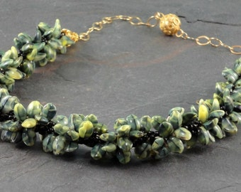 Green Leaf Kumihimo Necklace, Statement Necklace