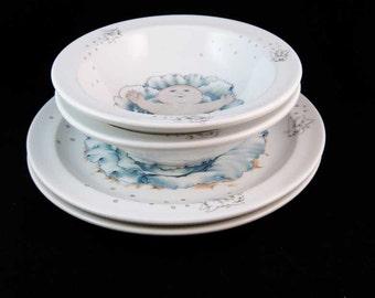 Vintage Royal Worcester England Cabbage Patch Kids Porcelain Plates/Bowls(4 pcs)