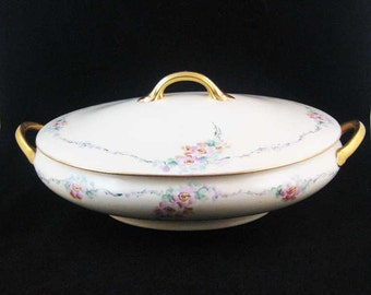 Noritake Nippon Oval Covered Casserole Dish Pink Flowers Gold Circa 1911