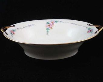 Noritake Nippon Oval Vegetable Serving Bowl Pink Lavender Flowers Gold