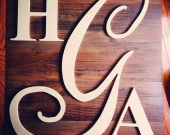 Unfinished wedding set of monogram letters