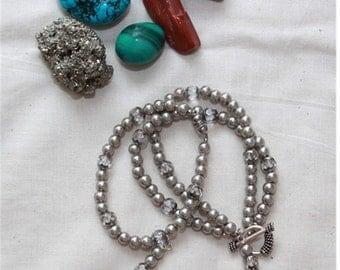 Silver Pearls Braselets,    Multi Strands Bracelets,  Bohemian Bracelet Set,  Unique Bracelets,  Czech Crystals Beads