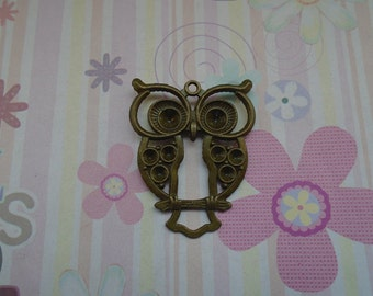 6pcs antique bronze plated owl findings 47x38mm