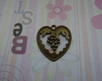 10pcs antique bronze heart bowknot findings 30mmx30mm