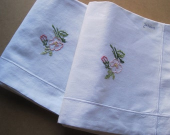 Pair of pretty French vintage linen pillowcases, eurosham, square, cushion cover, bed linens