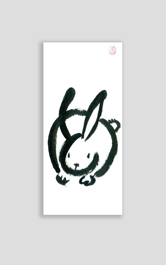 rabbit chinese zodiac year of the rabbit original zen by zenbrush. Black Bedroom Furniture Sets. Home Design Ideas
