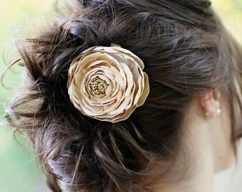Flower Hair Clip - Large Beige Ranunculus Silk Bloom on a Pin or an Alligator Clip - Tan Flower - Special Occasion - Wedding Flower Clip
