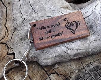 Handmade Laser Engraved Premium Caribbean Rosewood Key Chain - Music Lovers Theme