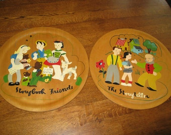 2 Folk Art Plates Children Storybook Motif Hand Painted Wood Platters Wooden Tray Serving Dining Kitchen Decor