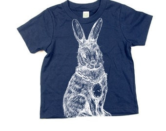 Childrens Rabbit Tshirt  - Eco-Friendly - Organic - Navy Blue -Toddler - Small, Medium, Large - Boy - Girl