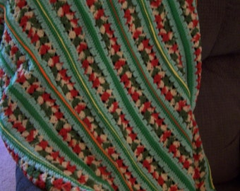 Vintage Green Striped Crochet Afghan, Striped with Scallops, Greens, Yellow, Orange/Red