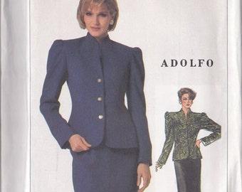 Misses Skirt & Jacket Pattern ~ Simplicity 7027 Size 14 ~ Back Flounce Skirt~ Fitted Jacket Princess Seam Back ~ Funnel Neck ~ Uncut