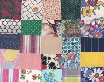 Vintage Fabric Precut 2 1/4 Inch Square Pieces 50 Cotton Material 4 Charm Quilting Sewing Projects Variety Pack 14 O