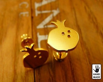 POMEGRANATE Handmade Goldplated Sterling Silver .925 Earrings in a gift box