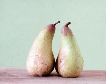 Pears Print, Rustic Kitchen Decor, Mint, Pink, Yellow, Food Photography, Pastel, Kitchen Print