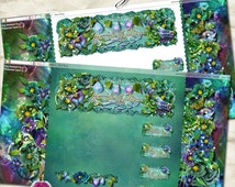 "Blogger ""Waking Dream""  - Designer Blog Theme - teal, purple, blue, garden, flowers, orbs, pillow, dream, night, fantasy, banner, background"