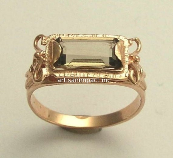 RESERVED to Jedda - PAYMENT 10 - 14K Rose Gold Ring, smokey quartz ring, wedding ring, bridal jewelry - The sky is the limit.