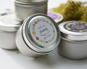 150 Wedding Favors Soy Candles in 2 Oz.Travel Tin with Personalized Label