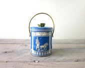 Vintage Murray Allen Roman Blue and White Candy Tin Metal Canister