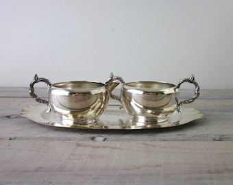 Vintage Silver Plate Sugar and Creamer and Tray Set