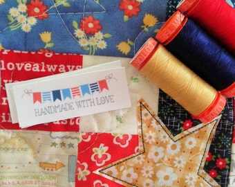 handmade with love red white and blue fabric label
