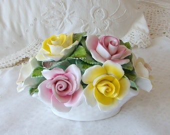 Royale Stratford Fine Bone China Pink and Yellow Roses. Staffordshire, England