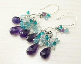Purple Amethyst Chandelier Earrings, Aqua Apatite, Teal Quartz, Sterling Silver, Purple Gemstone Cluster Earrings, Wire Wrapped Dangle