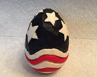 Stars & Stripes Wooden Egg Wood Carving Hand Carved Handmade Patriotic Decoration
