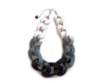 Black and White Statement Necklace, Chunky Chain Link Necklace, Ombre Necklace
