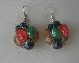 Vintage Colorful Bead Cluster Hanging Earrings