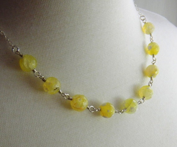 yellow gemstone necklace pale yellow wire wrapped necklace