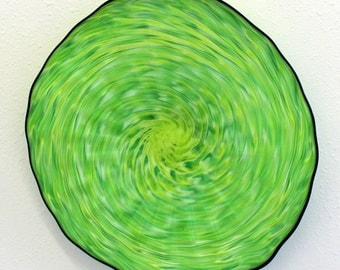 Blown Glass Platter Hand Blown Glass Art  Patterned Wall Platter Bowl GREEN LIME 5945 ONEIL