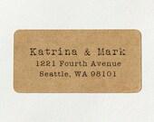 Custom Printed Return Address Labels - Design #12, Typewriter Text Address Labels, Rustic Wedding