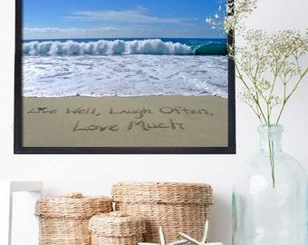Beach Wall Art -Live Well, Laugh Often, Love Much Inspirational- Housewarming Gift - Unique Wedding Gift- Beach Wedding Decor