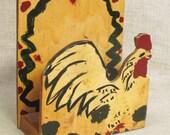 Napkin Holder , Letter Rack , Folk Art , Chicken , Desk Accessory , Organization , Kitchen Decor , Handmade , Rustic , Primitive , Storage