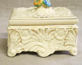 Ceramic Box , Vanity Box , Desk Box , Jewelry Box , Cream , Flowers , Ornate , Trinket Box , Storage , Organization , Japan , Antique , Box