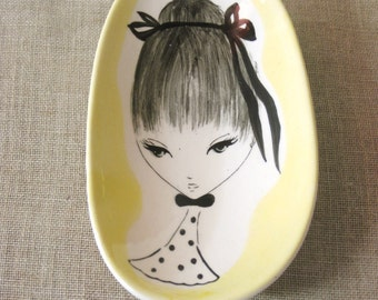 Soap Dish , Candy Bowl , Small Bowl , Ring Dish , Japan , Ceramic , Female Portrait , Bath Accessory , Wall Decor ,Wall Hanging ,Powder Room