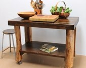 SALE Table Island Bar Workbench Casters Live Edge