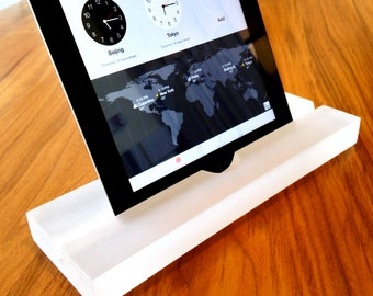 Frosted Ice groove iPad/tablet stand, Kitchen Tablet Stand- Modern Minimalism at its Best