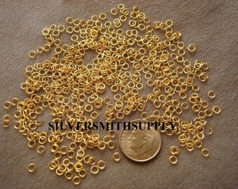500 3mm Open Gold Plated  JUMP RINGS 22 Gauge Round 3 x0 .7mm FPJ003