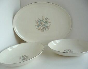 VIntage Taylor Smith Versatile Mid Century Serving Bowls and Platter Aqua Pink Floral